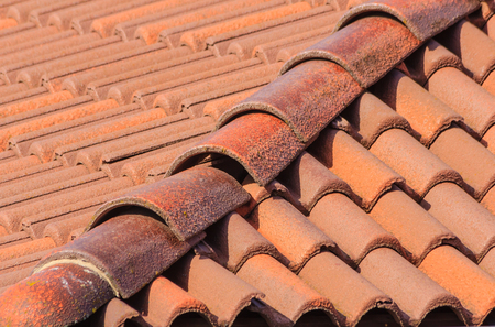 geometric composition of a roof of red tiles Imagens