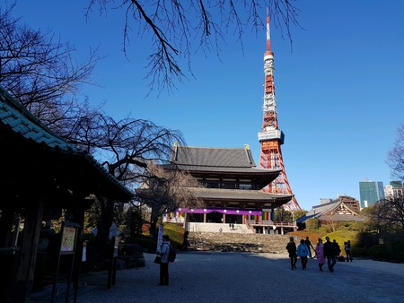Tokyo tower with temple in Japan