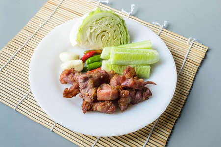 nem: Thai fermented pork fried and vegetable Stock Photo