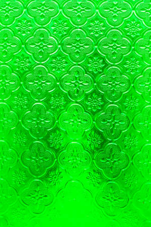 stained glass panel: Green glass with patterns Stock Photo