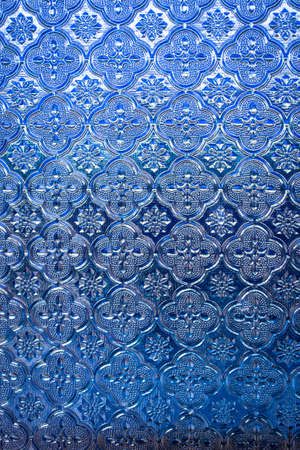 stained glass panel: Blue glass with patterns