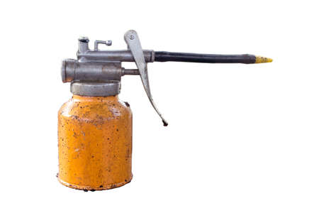 lubricator: old metal oil can