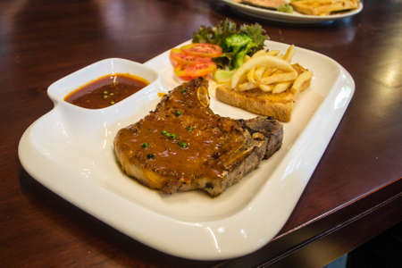 grilled pork chop: grilled pork chop steak Stock Photo
