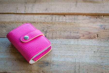 card holder: pink leather business card holder Stock Photo