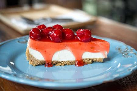 cherry cheese pie Stock Photo