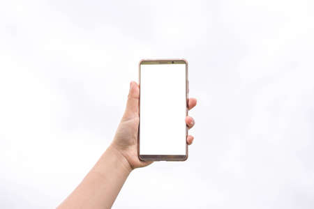woman holding phone showing blank screen