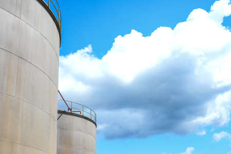 Palm oil refinery industry and blue sky background. Stock Photo - 110121396