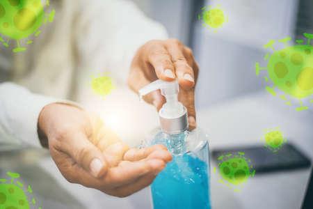 Prevent covid-19 virus, Hand sanitizer gel with Ethanol 70% Stock Photo