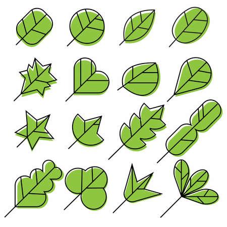 Icon Set of green leaves Illustration