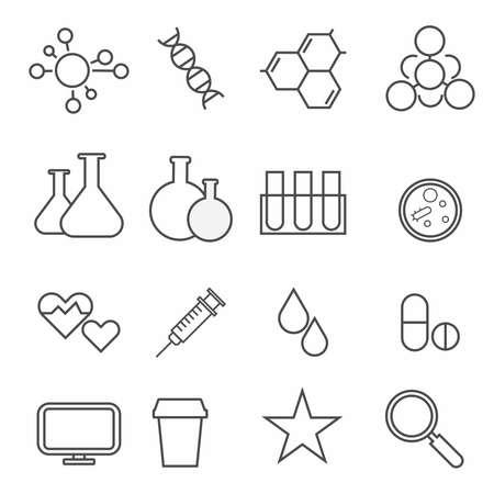 Set of science icons on white background Illustration