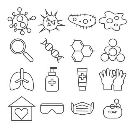Set of science icons on white background , covid-19