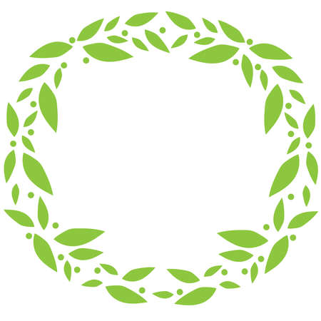 Abstract design wreath with green leaf