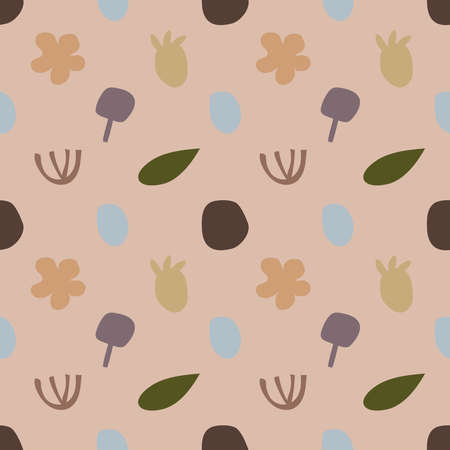 Nature background , Seamless pattern with leaves and floral background Illustration