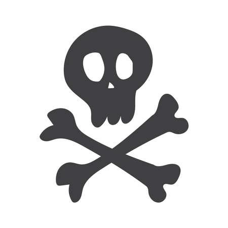 Skull and Crossbones on White Background