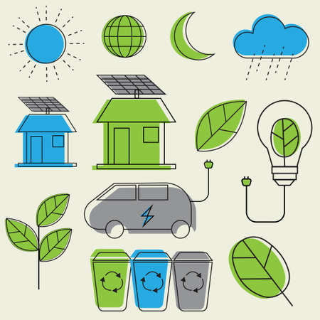 Concept of ecology and recycle , ecology icons set Illustration