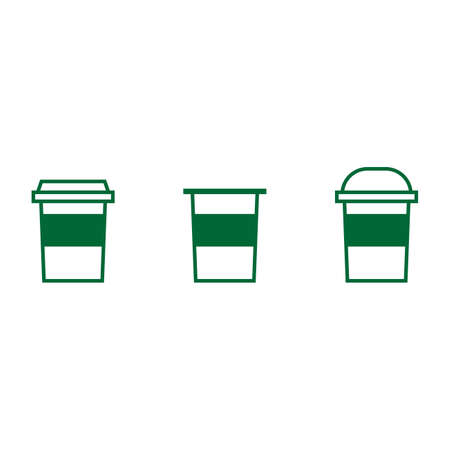 Set of drink icons on white background