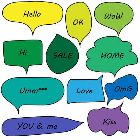 speech bubbles doodle set with accentuation Illustration