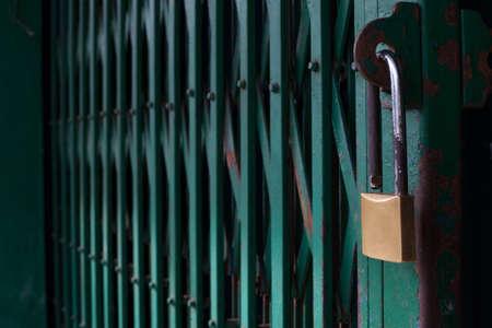 Lock on Green Steel Door Stock Photo - 17246483