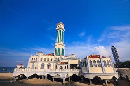 Floating Mosque of Tanjung Bungah, Penang island, Malaysia Stock Photo