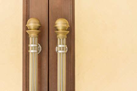Steel Door handles on Vintage Wood Door