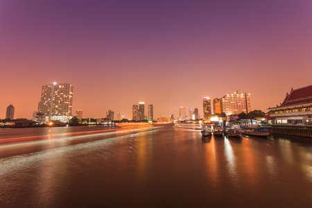 Night Scenes Chao Praya,Thailand