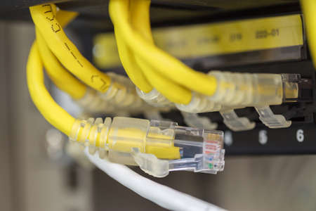 Unplug Server Internet Connected  LAN cables  Stock Photo