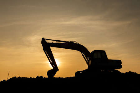 Power shovel on Construction site. Stock Photo