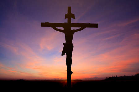 イエスの十字架上の背景をぼかし 写真素材