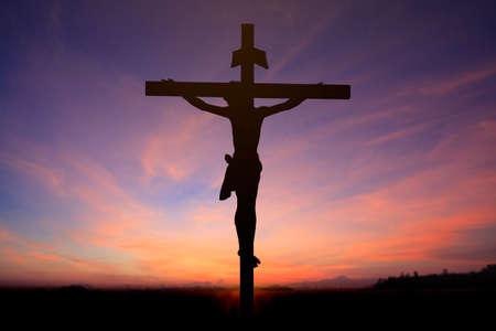 jesus clouds: Jesus on the cross blur background