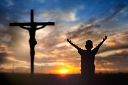 Worship Jesus on the Cross. Stock Photo