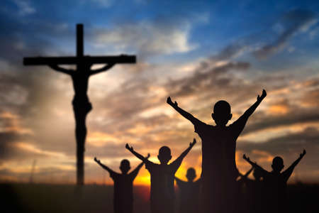 churches: Worship Jesus on the Cross. Stock Photo
