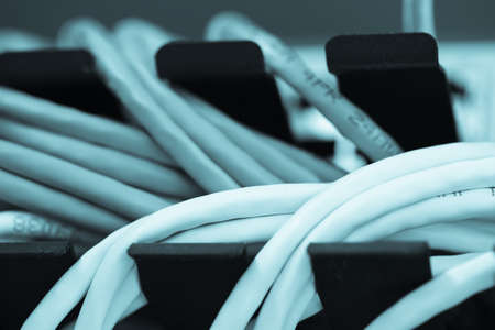 Large network hub connected Internet with LAN cables.