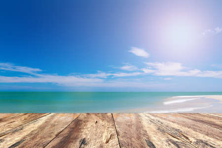 Wood Pave and Blue Sky Beach in Summer Season.