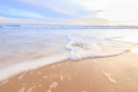 Sunset Sea Sand and Wave. Stock Photo