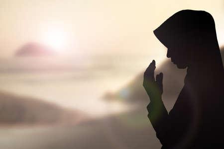 prayers: Muslim Woman pray and Beautiful background.