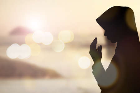 islamic pray: Muslim Woman pray and Beautiful background.