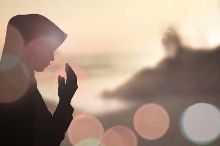 islamic scenery: Muslim Woman pray and Beautiful background.
