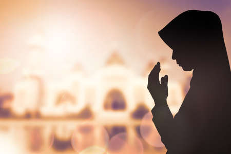 islamic scenery: Muslim Woman pray and Beautiful background.