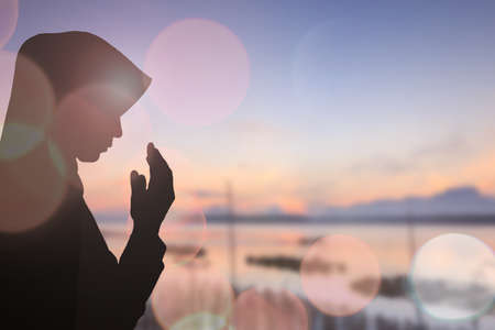 Muslim Woman pray and Beautiful background. Stock fotó - 47687919