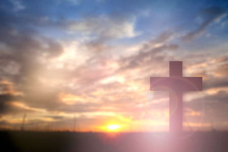 worship praise: Silhouette of Jesus with Cross over sunset concept for religion, worship, Christmas, Easter, thanksgiving prayer and praise.? Stock Photo