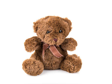 Teddy Bear on Isolate background. bow cute art nice love floor baby play child one joy doll studio toy object animal concept romantic retro worry young give apologize forgiveness plush single babe old white