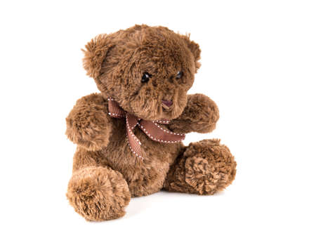 to get warm: Teddy Bear on Isolate background. bow cute art nice love floor baby play child one joy doll studio toy object animal concept romantic retro worry young give apologize forgiveness plush single babe old white