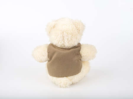 apologize: Teddy Bear on Isolate background. bow cute art nice love floor baby play child one joy doll studio toy object animal concept romantic retro worry young give apologize forgiveness plush single babe old white