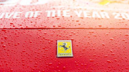 Krabi, Thailand - October 12, 2018 : Close up Italian sports car Ferrari between road trip in Krabi, Thailand. Redakční