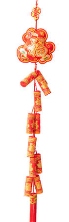 Fortune cracker decoration in Happy Chinese New Year 2019 display on white isolate background concept for blurry outdoor buddhist chinatown, oriental religious culture, Shanghai city.