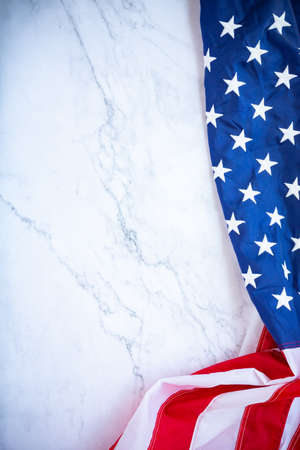 Antique America flag waving pattern background in red blue color concept for USA 4th july independence day, symbol of patriot freedom on white marble. Glory pride in memorial day of liberty Banco de Imagens