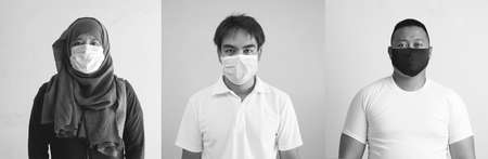 Asian man in medical mask Coronavirus pandemic disease isolate background. COVID-19 virus from Malaysia epidemic outbreak to global, Indonesia concept for person social distance, Respiratory illness