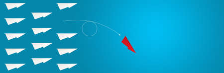 Abstract One red paper planes in new direction of group on chalkboard background concept for individual teamwork think different solution. CEO Change vision way for new normal business strategy trend.