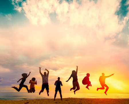 Happy family people group celebrate jump for good life on weekend concept for win victory, person faith in financial freedom healthy wellness, Great insurance team support retreat together in summer. Stok Fotoğraf