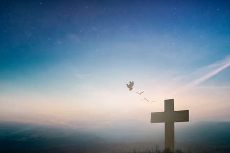 Silhouette jesus christ crucifix on cross on calvary sunset background concept for good friday he is risen in easter day, good friday worship in God, Christian praying in holy spirit religious. Stok Fotoğraf